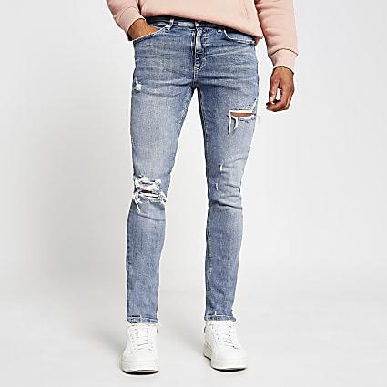 Blue denim skinny ripped sanderson jeans