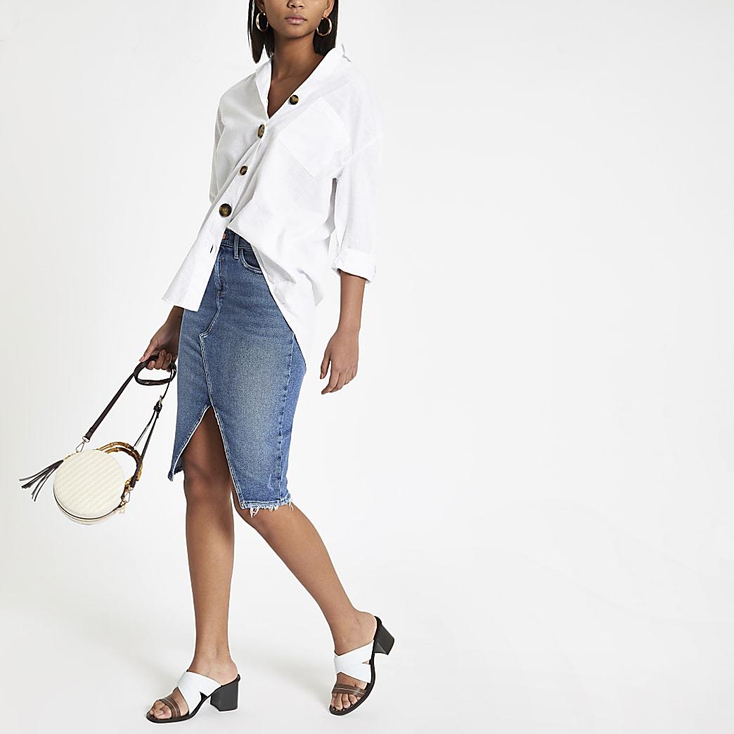 Blue denim split front midi skirt