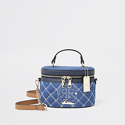 Blue denim stitched vanity bag