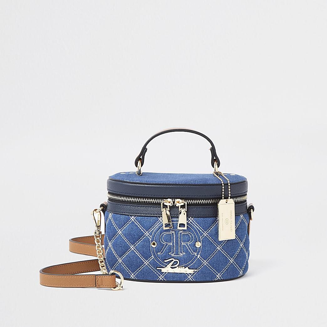 Blue denim stitched vanity bag