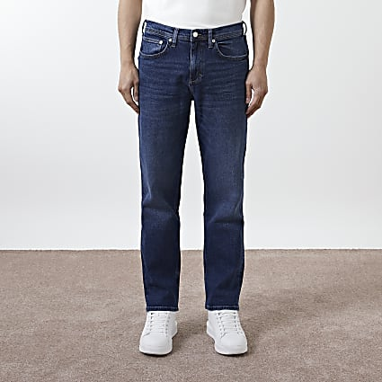 Blue denim straight fit jeans