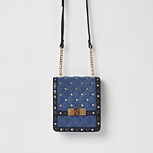 Blue denim studded cross body bag