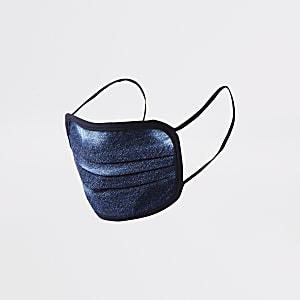 Blue denim tie dye print face covering