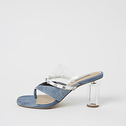 Blue denim toe thong diamante mule sandals