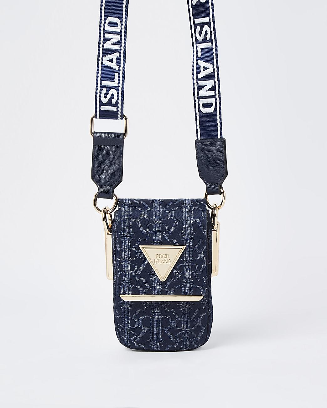 Blue denim vertical  cross body bag