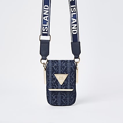 Blue denim vertical  cross body bag
