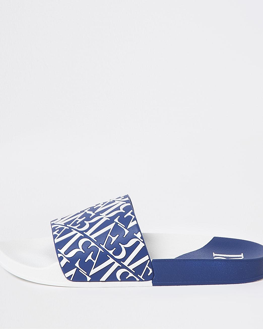 Blue diagonal river monogram sliders