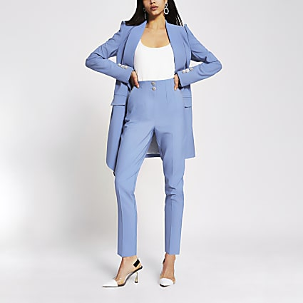 Blue diamante button cigarette trousers