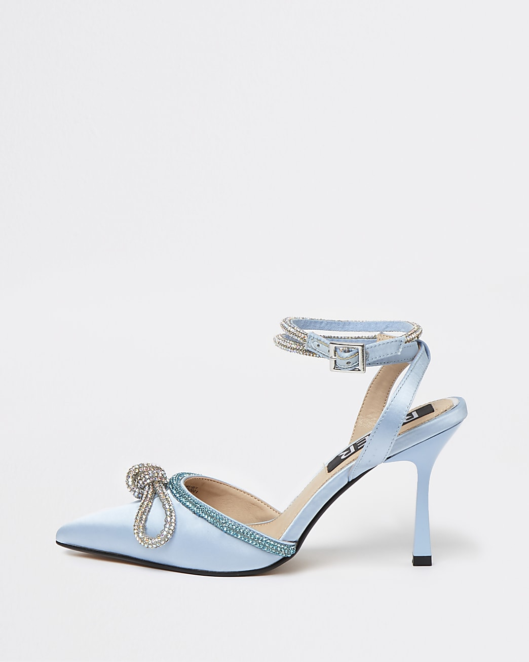 Blue diamante embellished bow court shoes