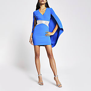 Blue diamante V neck cape mini dress