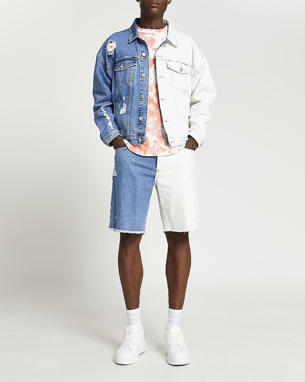 Blue dip dye denim shorts