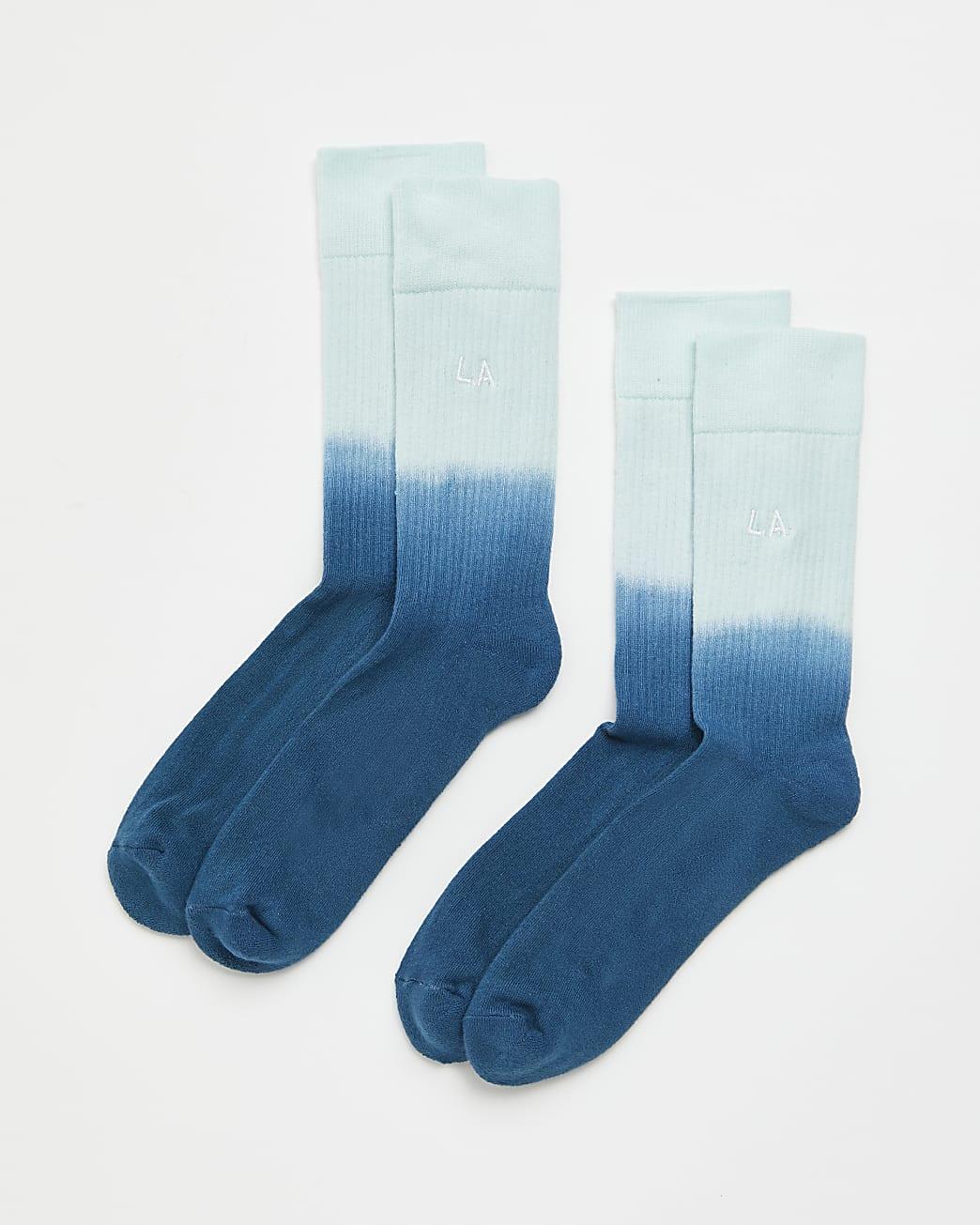 Blue dip dye tube socks 2 pack