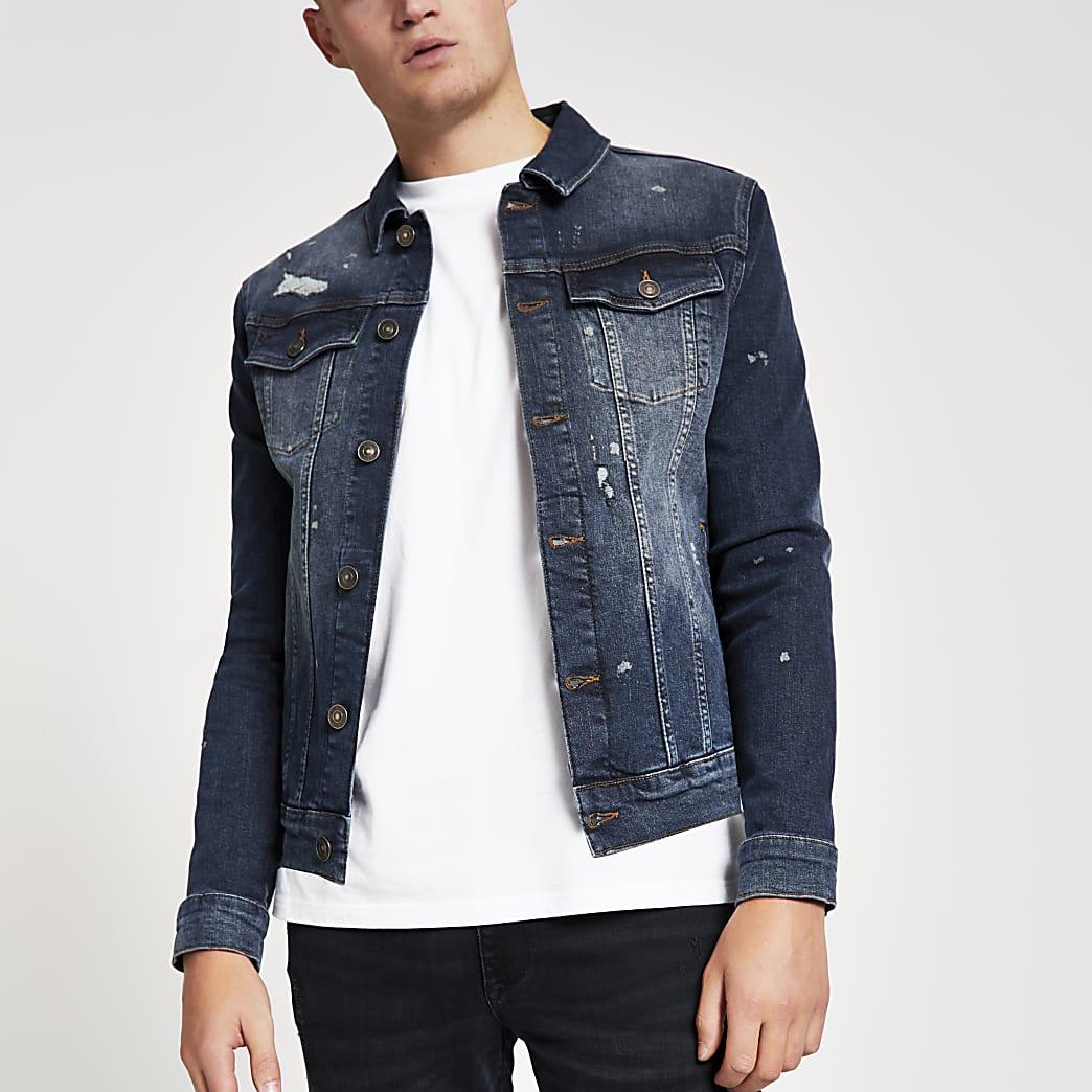 Blue distressed muscle fit denim jacket