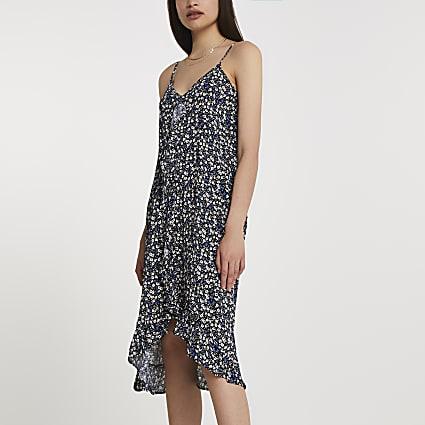 Blue ditsy floral ruffle trim slip dress