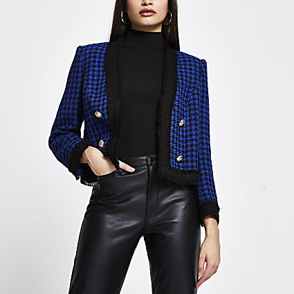 Blue dogtooth boucle crop blazer