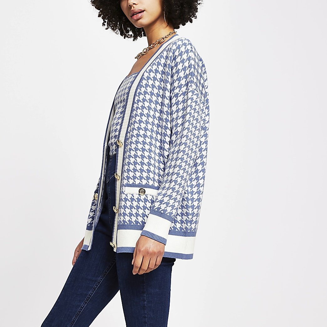 Blue dogtooth gold button cardigan