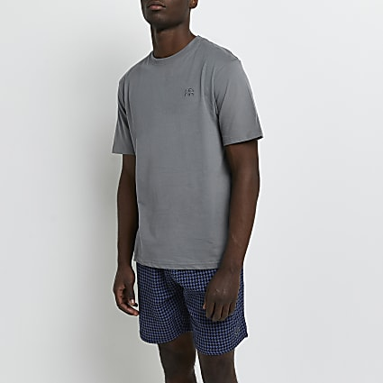 Blue dogtooth t-shirt and shorts pyjama set