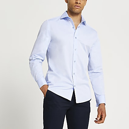 Blue double cuff long sleeve shirt