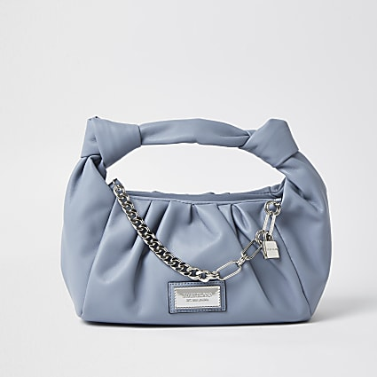 Blue double knot chain ruched bag