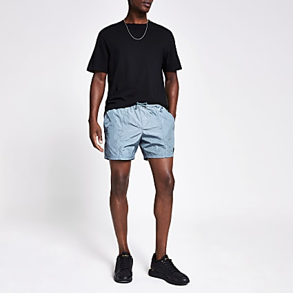 Blue drawstring swim shorts