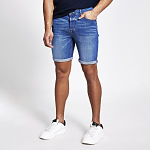 Dylan - Blauwe slim-fit denim short
