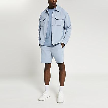 Blue elasticated shorts