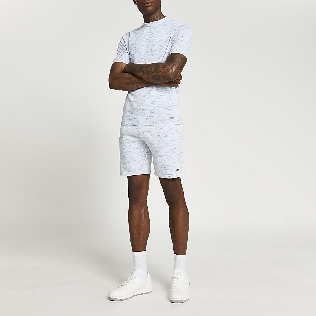 Blue elasticated waist slim fit shorts