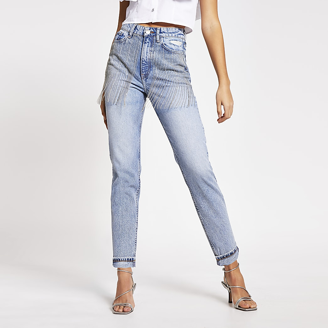 Blue embellished Carrie high rise Mom jeans
