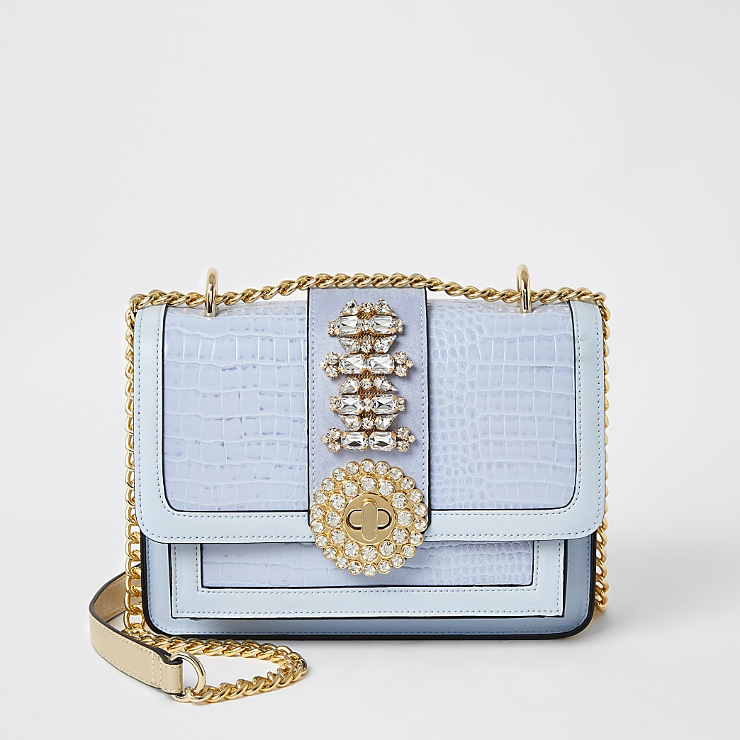 Blue embellished cross body satchel bag