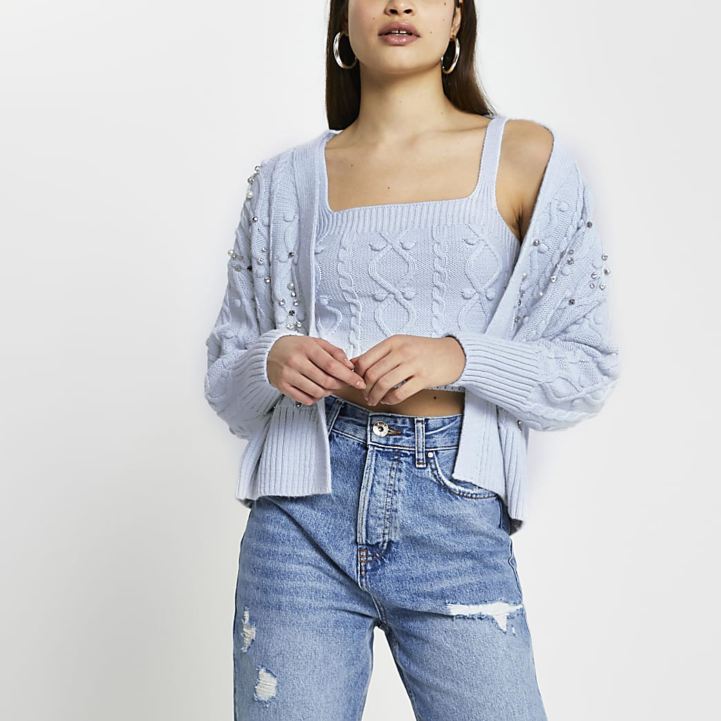 Blue embellished knit cardi and bralet set