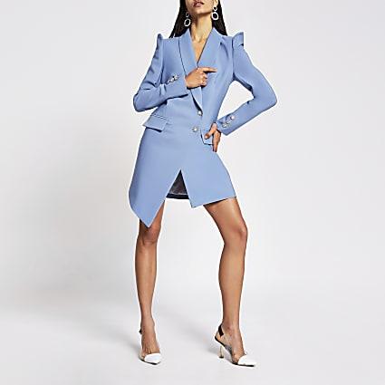 Blue embellished puff sleeve blazer dress