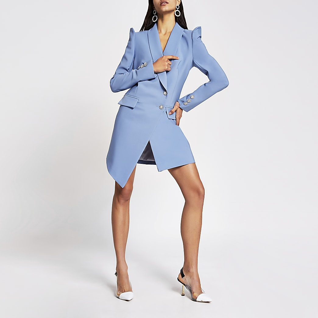 Blue embellished puff sleeve blazer dress