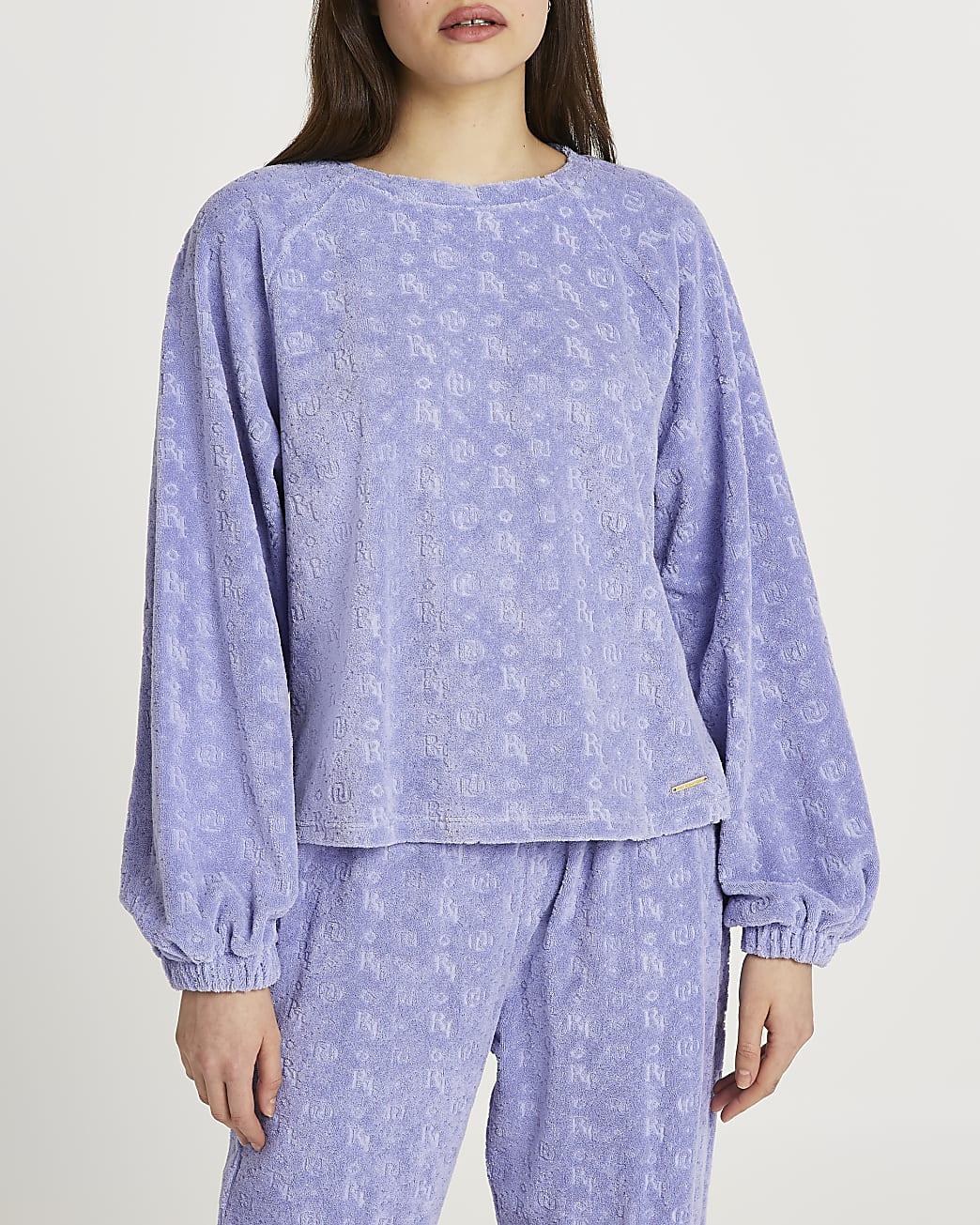 Blue embossed logo puff sleeve sweatshirt
