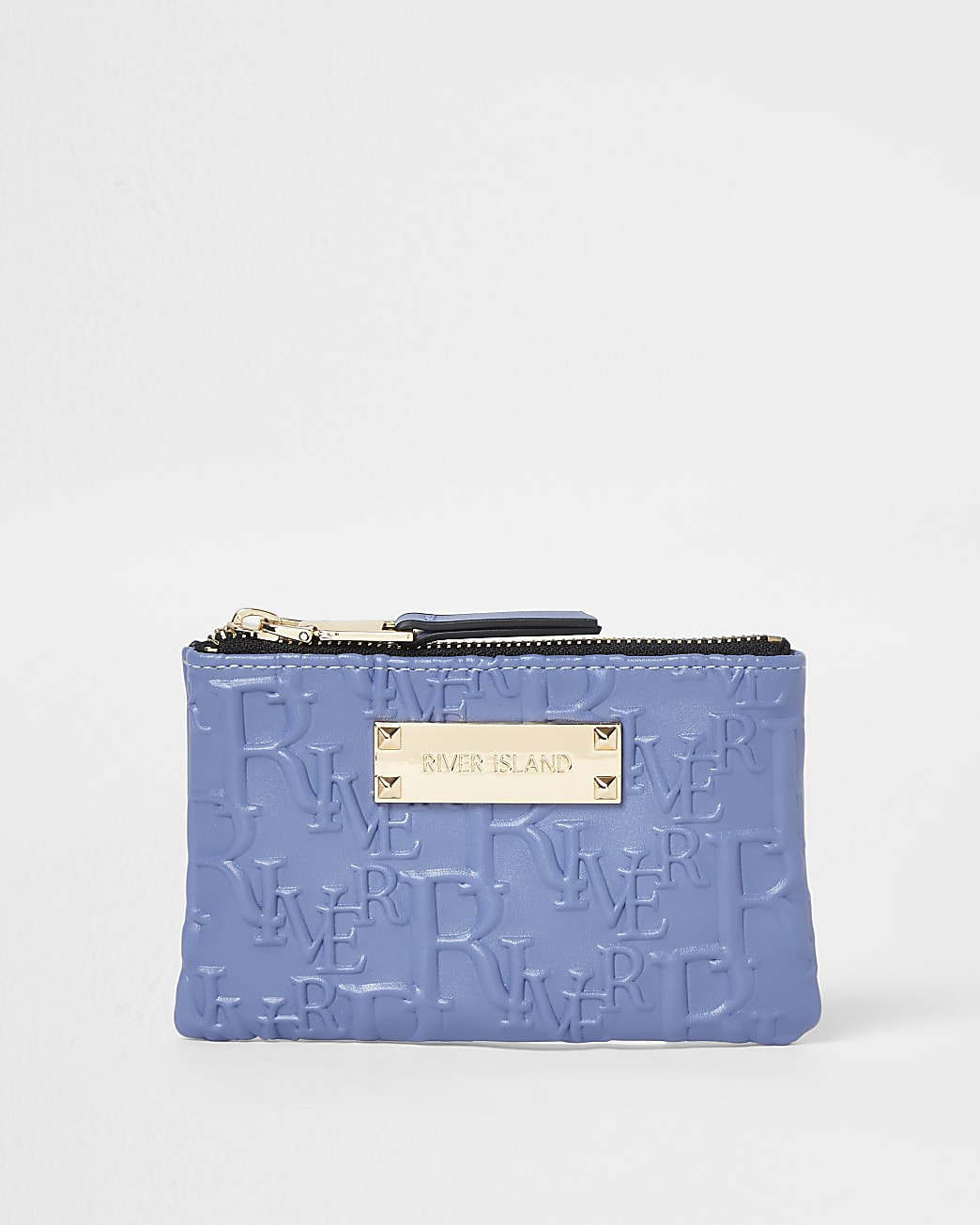 Blue embossed mini pouch bag