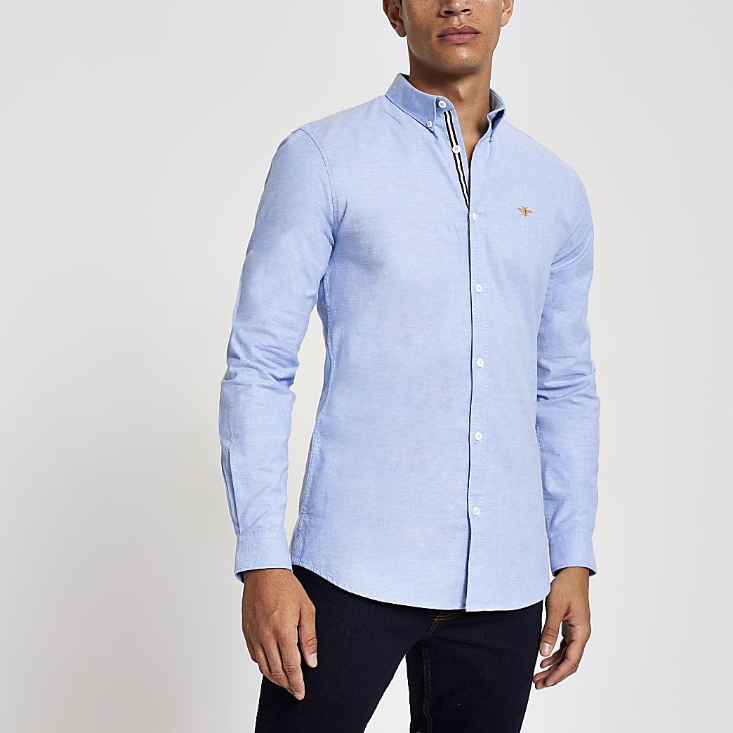 Blauw geborduurd slim-fit Oxford overhemd
