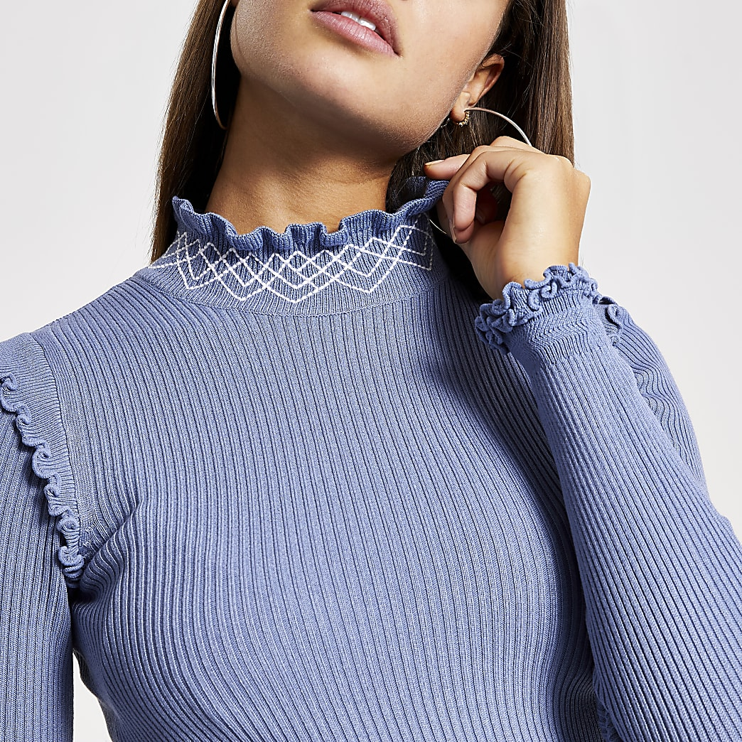 Blue embroidered turtle neck frill top