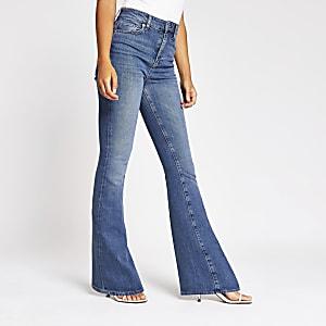 Farrah - Blauwe high rise flare jeans