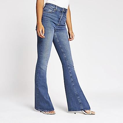 Blue Farrah high rise flare jeans