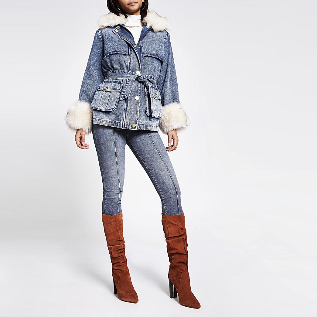 Blue faux fur collar padded denim jacket