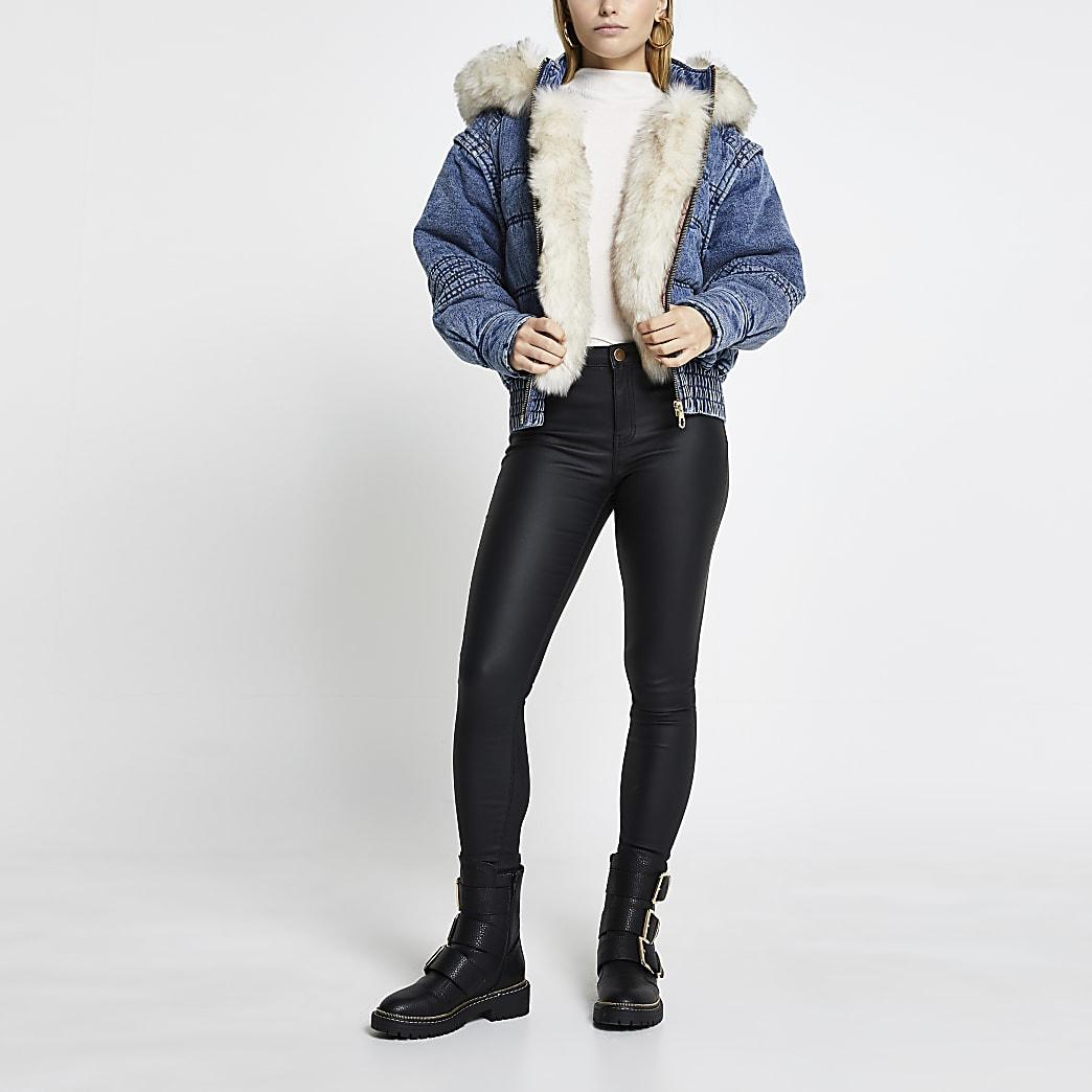 Blue faux fur hooded denim puffer jacket