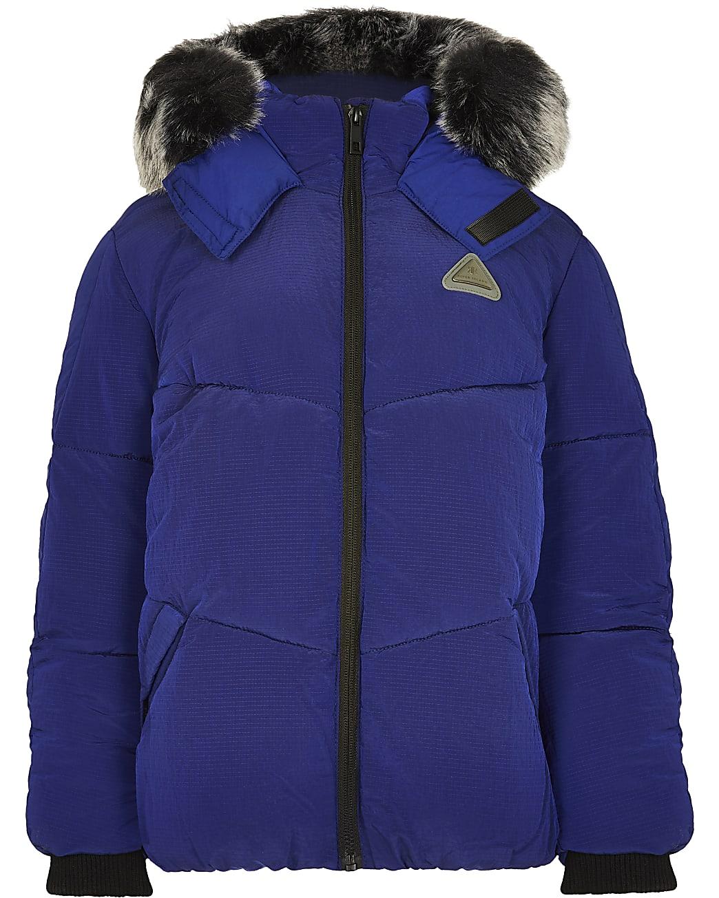 Blue faux fur hooded padded coat