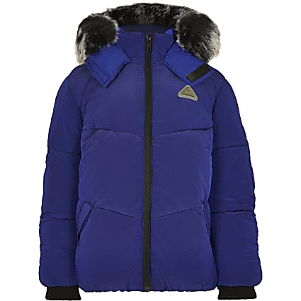 Blue faux fur hooded padded coat