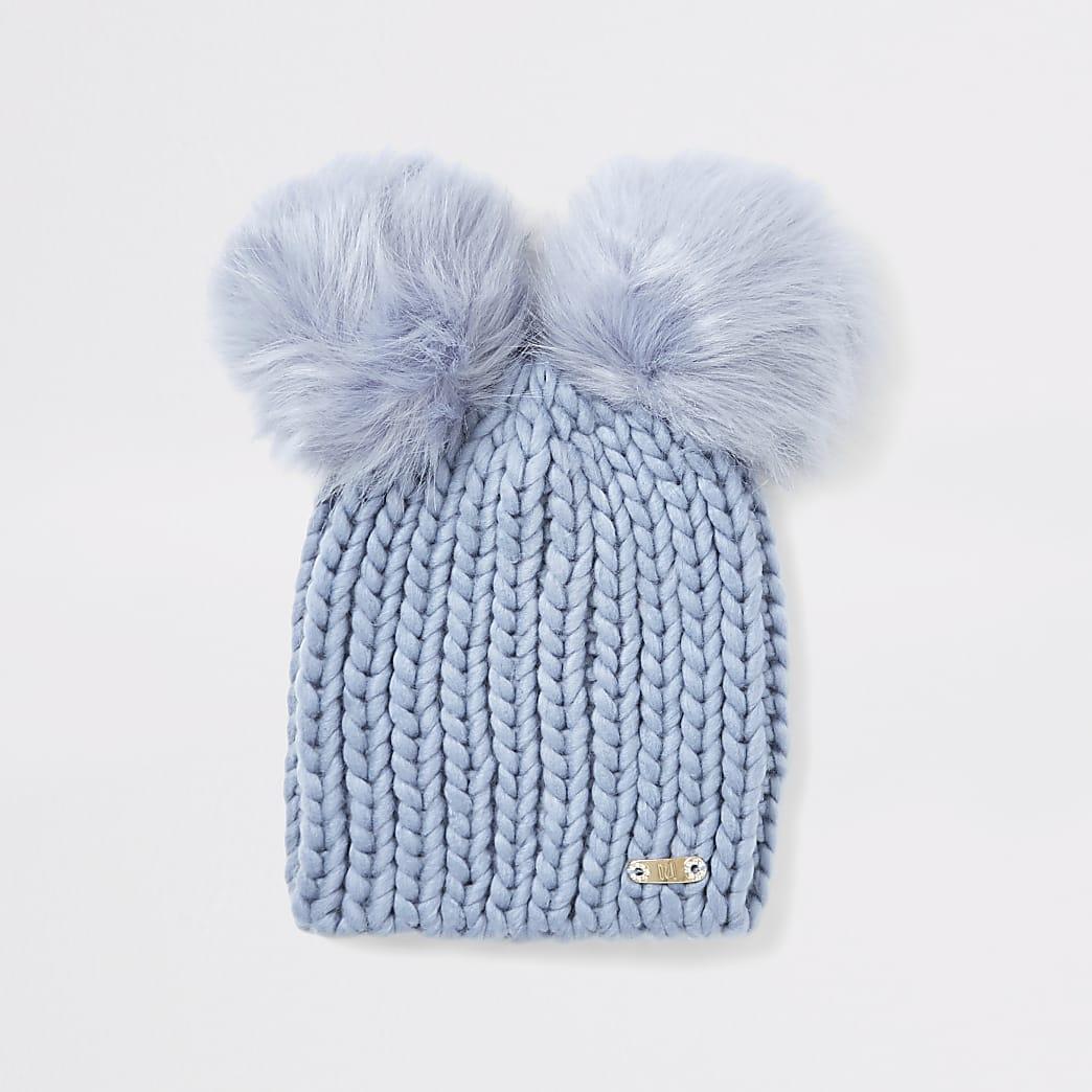 Blue faux fur pom pom beanie hat