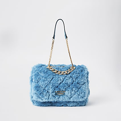 Blue faux fur quilted shoulder bag