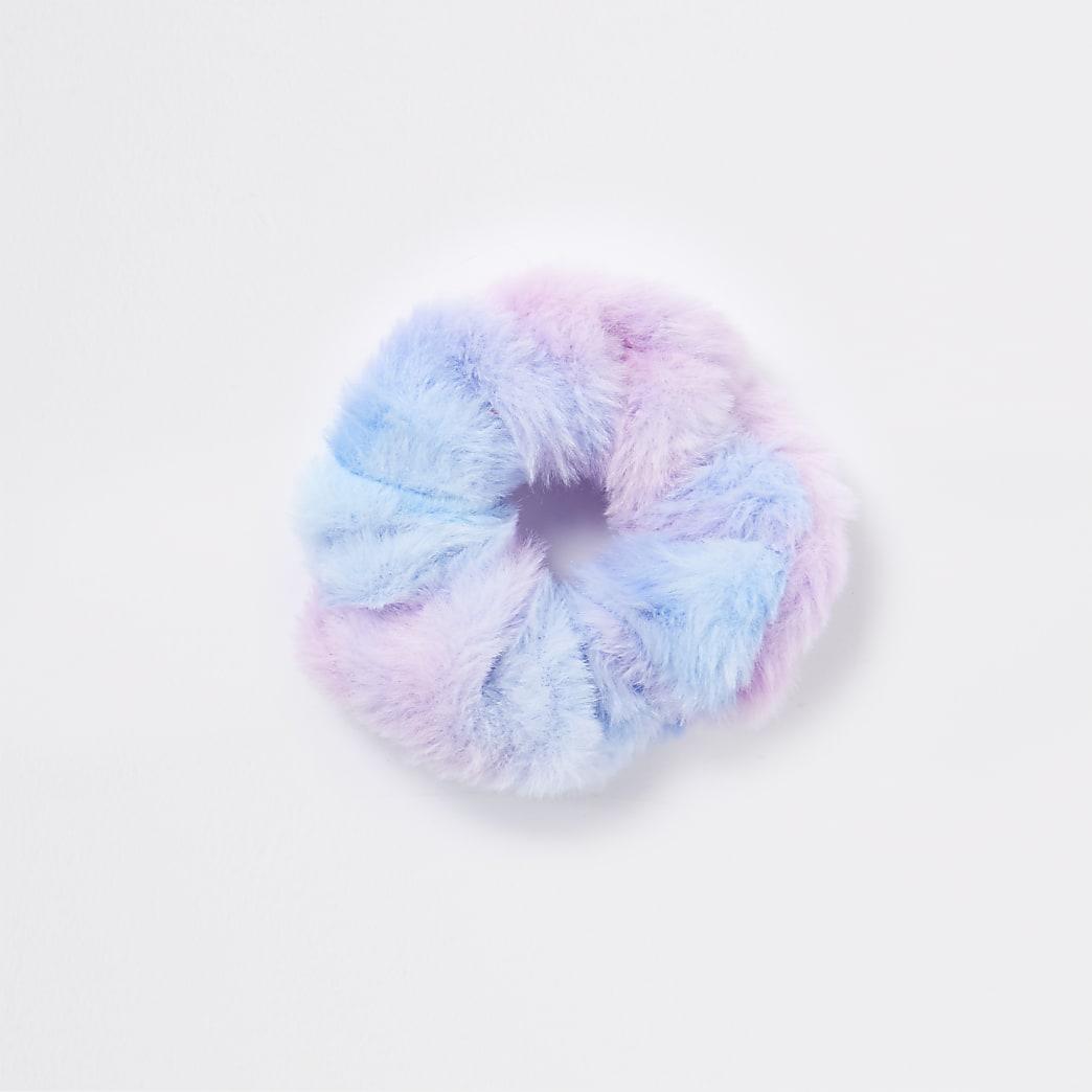 Blue faux fur tie dye scrunchie