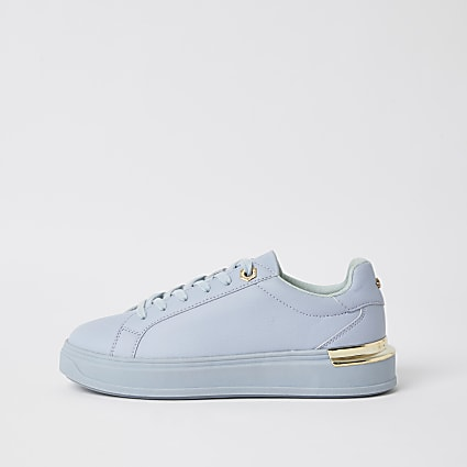Blue faux leather chunky lace up trainers