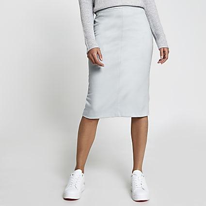 Blue faux leather pencil skirt
