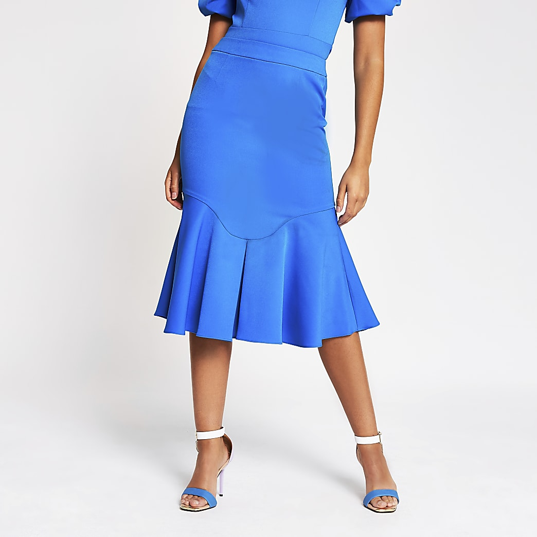 Blue fitted peplum frill midi skirt