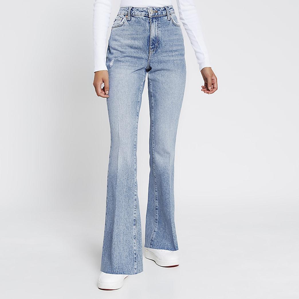 Blue flared high rise denim jeans