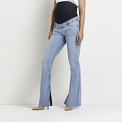 Blue flared maternity jeans